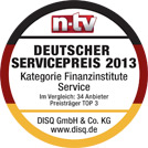 Auch 2103 wurde der Deutsche Service-Preis verliehen - der Nachrichtensender n-tv und das Deutsche Institut für Service-Qualität vergeben ihn an Unternehmen, die sich durch hervorragenden Service von der oft kritisierten